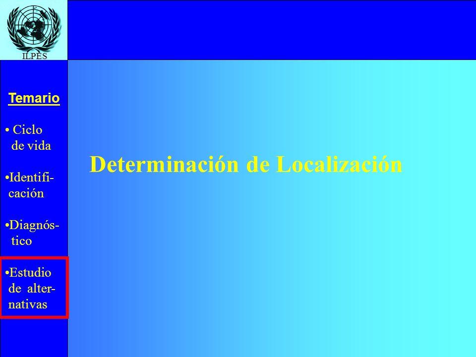 Ciclo de vida Identifi- cación Diagnós- tico Estudio de alter- nativas Temario ILPES Determinación de Localización