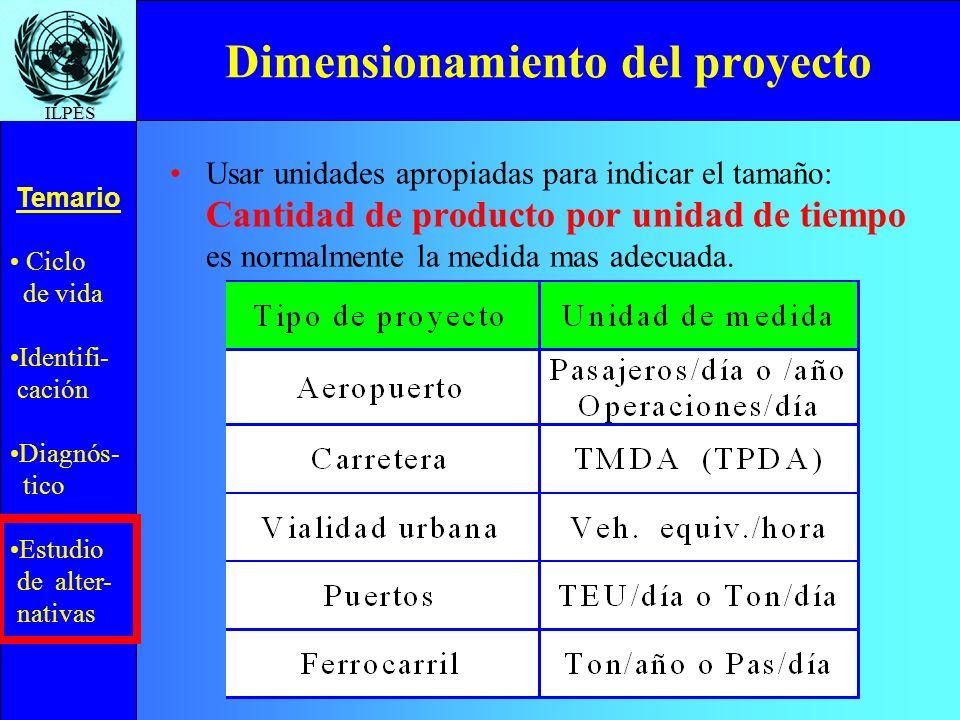Ciclo de vida Identifi- cación Diagnós- tico Estudio de alter- nativas Temario ILPES Dimensionamiento del proyecto Usar unidades apropiadas para indic