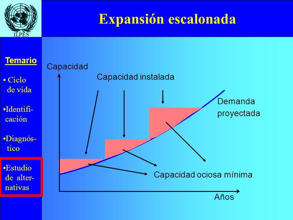 Ciclo de vida Identifi- cación Diagnós- tico Estudio de alter- nativas Temario ILPES Capacidad instalada Expansión escalonada Capacidad Años Demanda p