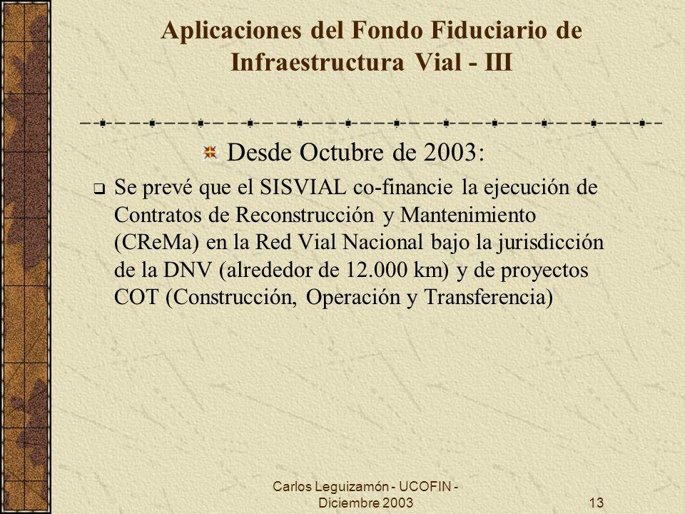 Carlos Leguizamón - UCOFIN - Diciembre 200313 Aplicaciones del Fondo Fiduciario de Infraestructura Vial - III Desde Octubre de 2003: Se prevé que el S