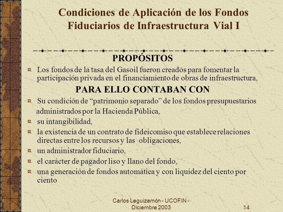 Carlos Leguizamón - UCOFIN - Diciembre 200314 Condiciones de Aplicación de los Fondos Fiduciarios de Infraestructura Vial I PROPÓSITOS Los fondos de l