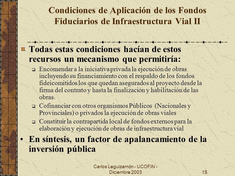 Carlos Leguizamón - UCOFIN - Diciembre 200315 Condiciones de Aplicación de los Fondos Fiduciarios de Infraestructura Vial II Todas estas condiciones h