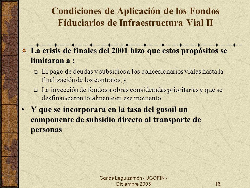 Carlos Leguizamón - UCOFIN - Diciembre 200316 Condiciones de Aplicación de los Fondos Fiduciarios de Infraestructura Vial II La crisis de finales del
