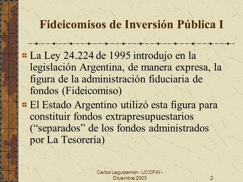 Carlos Leguizamón - UCOFIN - Diciembre 20033 Fideicomisos de Inversión Pública II Los fideicomisos de inversión en infraestructura del Estado Nacional son: 1.El Fondo Fiduciario Federal de Infraestructura Regional (FFFIR), es un fondo de préstamo que se encuentra activo desde 1998.