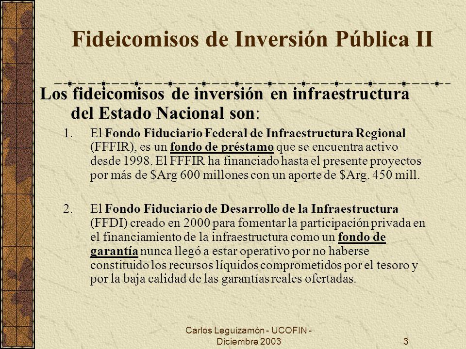 Carlos Leguizamón - UCOFIN - Diciembre 20034 Fideicomisos de Inversión Pública III Existen asimismo otros Fondos Fiduciarios Públicos de Inversión: Fondo Fiduciario para el Transporte Eléctrico Federal Fondo Fiduciario para el consumo de Gas Residencial en la Patagonia Fondo Fiduciario para el Desarrollo del Plan de Infraestructura Provincial (Provincia de Buenos Aires) Y se encuentran en desarrollo o en análisis Fondos Fiduciarios para el desarrollo de inversiones en las áreas de : Telecomunicaciones Agua Potable y Saneamiento Transporte Público Ferroviario (delta TarifaSuspendida)