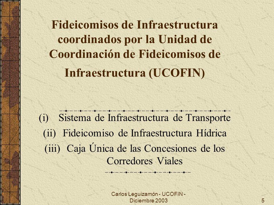 Carlos Leguizamón - UCOFIN - Diciembre 200316 Condiciones de Aplicación de los Fondos Fiduciarios de Infraestructura Vial II La crisis de finales del 2001 hizo que estos propósitos se limitaran a : El pago de deudas y subsidios a los concesionarios viales hasta la finalización de los contratos, y La inyección de fondos a obras consideradas prioritarias y que se desfinanciaron totalmente en ese momento Y que se incorporara en la tasa del gasoil un componente de subsidio directo al transporte de personas