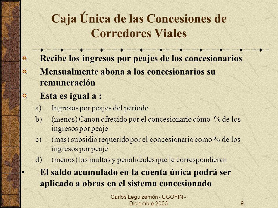Carlos Leguizamón - UCOFIN - Diciembre 20039 Caja Única de las Concesiones de Corredores Viales Recibe los ingresos por peajes de los concesionarios M