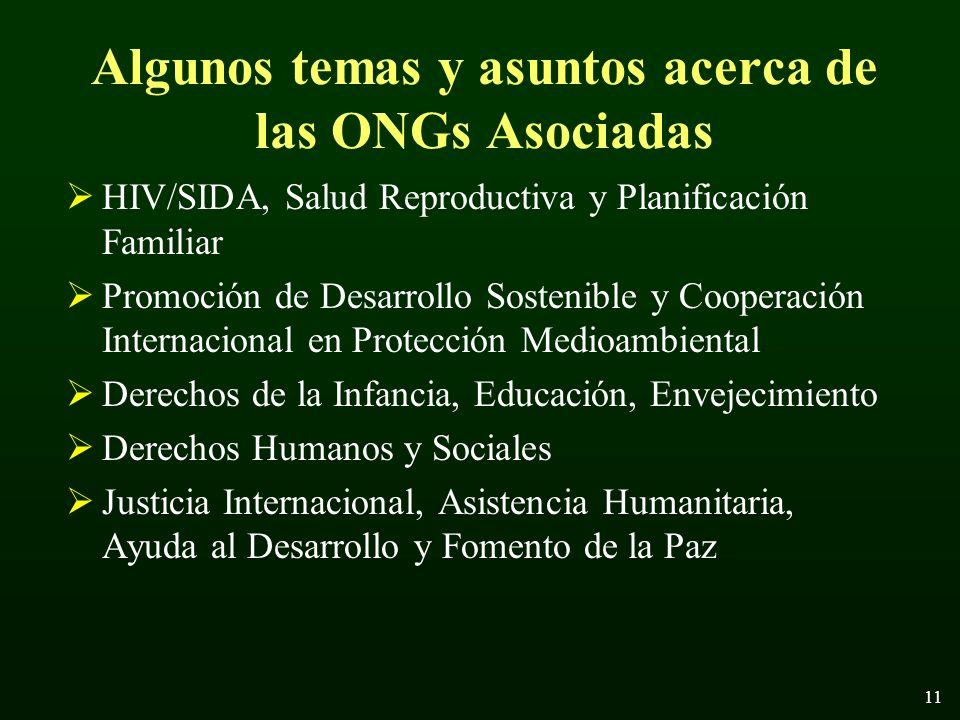 11 Algunos temas y asuntos acerca de las ONGs Asociadas HIV/SIDA, Salud Reproductiva y Planificación Familiar Promoción de Desarrollo Sostenible y Cooperación Internacional en Protección Medioambiental Derechos de la Infancia, Educación, Envejecimiento Derechos Humanos y Sociales Justicia Internacional, Asistencia Humanitaria, Ayuda al Desarrollo y Fomento de la Paz