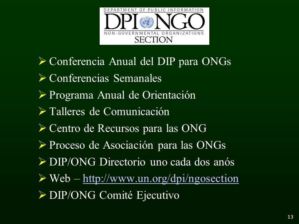 13 Conferencia Anual del DIP para ONGs Conferencias Semanales Programa Anual de Orientación Talleres de Comunicación Centro de Recursos para las ONG Proceso de Asociación para las ONGs DIP/ONG Directorio uno cada dos anós Web – http://www.un.org/dpi/ngosectionhttp://www.un.org/dpi/ngosection DIP/ONG Comité Ejecutivo