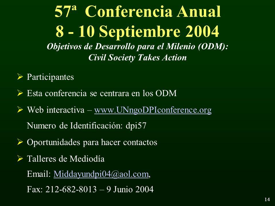 14 57ª Conferencia Anual 8 - 10 Septiembre 2004 Objetivos de Desarrollo para el Milenio (ODM): Civil Society Takes Action Participantes Esta conferencia se centrara en los ODM Web interactiva – www.UNngoDPIconference.orgwww.UNngoDPIconference.org Numero de Identificación: dpi57 Oportunidades para hacer contactos Talleres de Mediodía Email: Middayundpi04@aol.com, Fax: 212-682-8013 – 9 Junio 2004Middayundpi04@aol.com