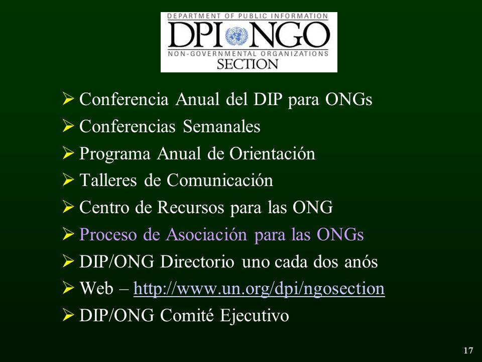 17 Conferencia Anual del DIP para ONGs Conferencias Semanales Programa Anual de Orientación Talleres de Comunicación Centro de Recursos para las ONG Proceso de Asociación para las ONGs DIP/ONG Directorio uno cada dos anós Web – http://www.un.org/dpi/ngosectionhttp://www.un.org/dpi/ngosection DIP/ONG Comité Ejecutivo