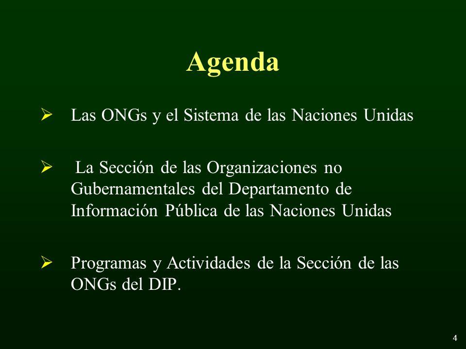 4 Agenda Las ONGs y el Sistema de las Naciones Unidas La Sección de las Organizaciones no Gubernamentales del Departamento de Información Pública de las Naciones Unidas Programas y Actividades de la Sección de las ONGs del DIP.