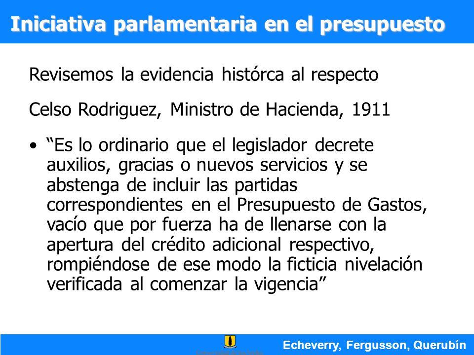 Iniciativa parlamentaria en el presupuesto Revisemos la evidencia histórca al respecto Celso Rodriguez, Ministro de Hacienda, 1911 Es lo ordinario que
