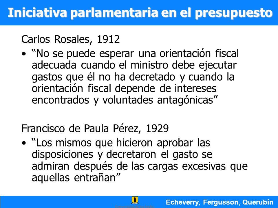 Carlos Rosales, 1912 No se puede esperar una orientación fiscal adecuada cuando el ministro debe ejecutar gastos que él no ha decretado y cuando la or