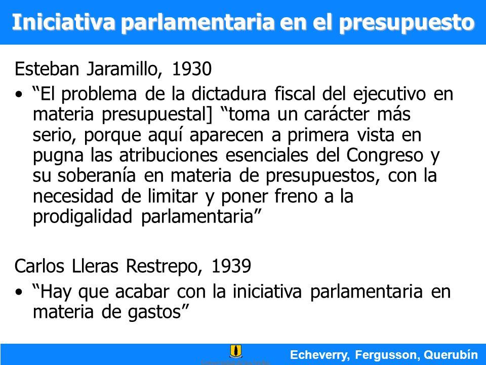 Esteban Jaramillo, 1930 El problema de la dictadura fiscal del ejecutivo en materia presupuestal] toma un carácter más serio, porque aquí aparecen a p