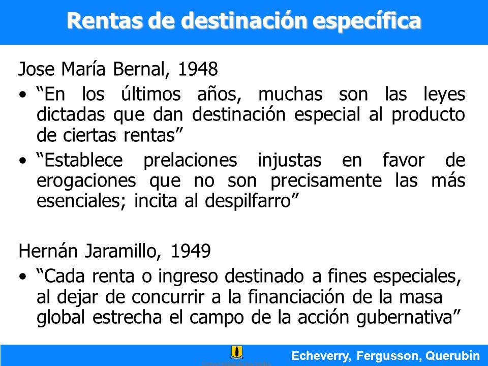 Jose María Bernal, 1948 En los últimos años, muchas son las leyes dictadas que dan destinación especial al producto de ciertas rentas Establece prelac