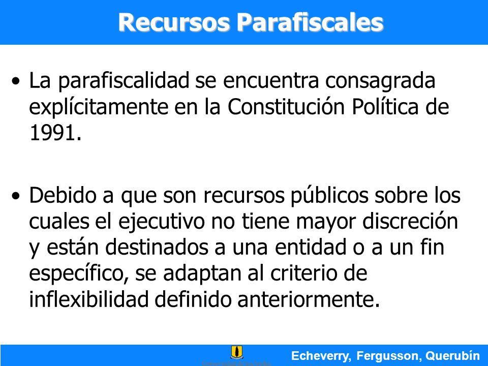 La parafiscalidad se encuentra consagrada explícitamente en la Constitución Política de 1991. Debido a que son recursos públicos sobre los cuales el e