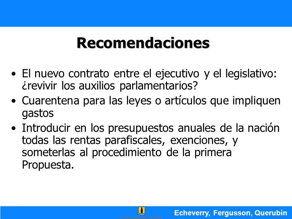 Recomendaciones El nuevo contrato entre el ejecutivo y el legislativo: ¿revivir los auxilios parlamentarios? Cuarentena para las leyes o artículos que
