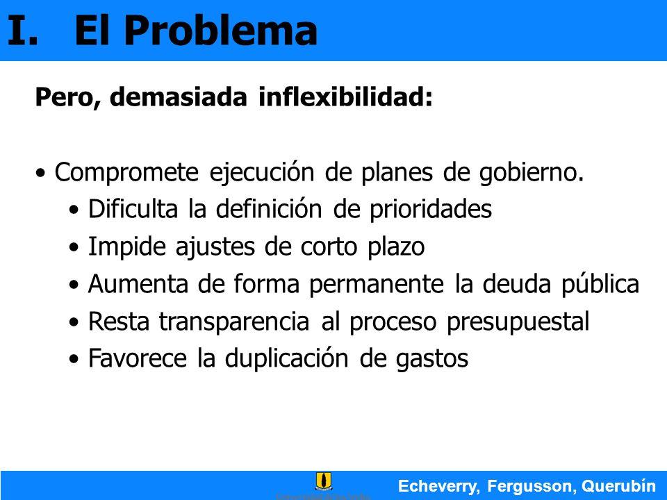 I.El Problema Echeverry, Fergusson, Querubín Pero, demasiada inflexibilidad: Compromete ejecución de planes de gobierno. Dificulta la definición de pr