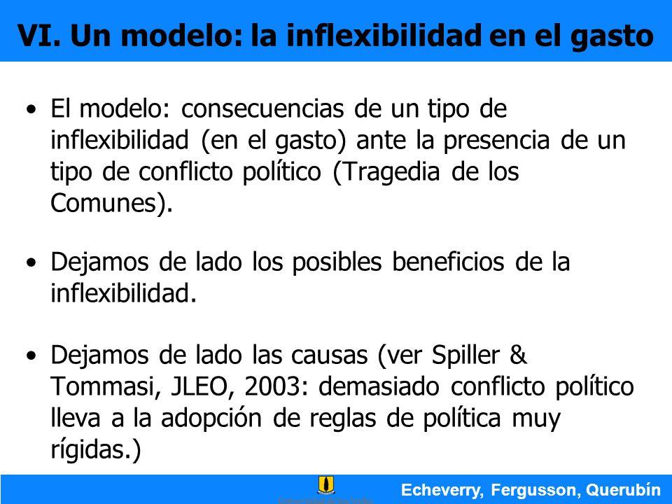 VI. Un modelo: la inflexibilidad en el gasto El modelo: consecuencias de un tipo de inflexibilidad (en el gasto) ante la presencia de un tipo de confl