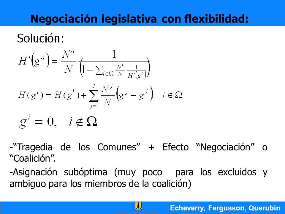 Negociación legislativa con flexibilidad: Echeverry, Fergusson, Querubín -Tragedia de los Comunes + Efecto Negociación o Coalición. -Asignación subópt