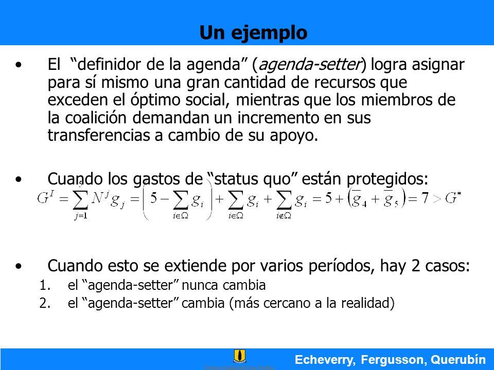 Un ejemplo Echeverry, Fergusson, Querubín El definidor de la agenda (agenda-setter) logra asignar para sí mismo una gran cantidad de recursos que exce