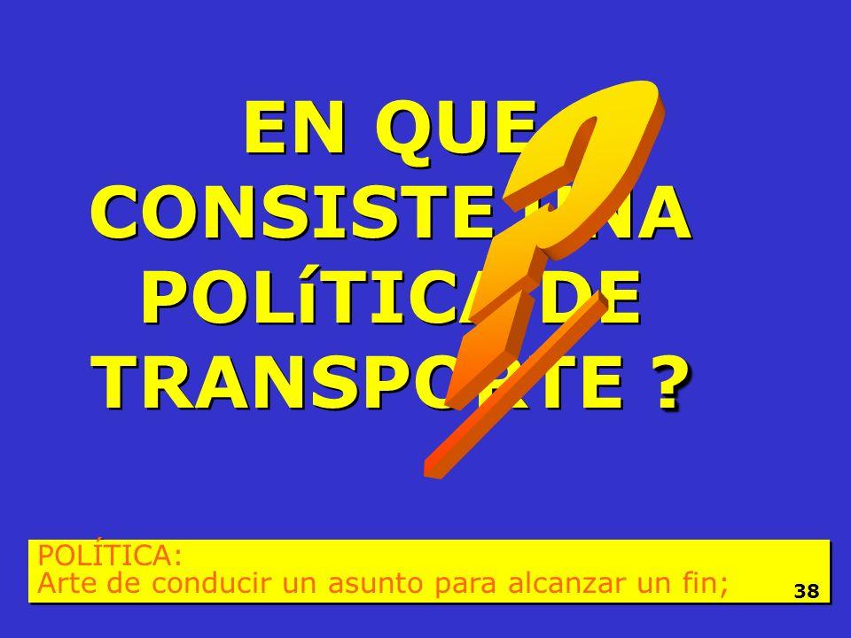HACER POLÍTICA DE TRANSPORTE !!! POLÍTICA: Arte de conducir un asunto para alcanzar un fin; 37