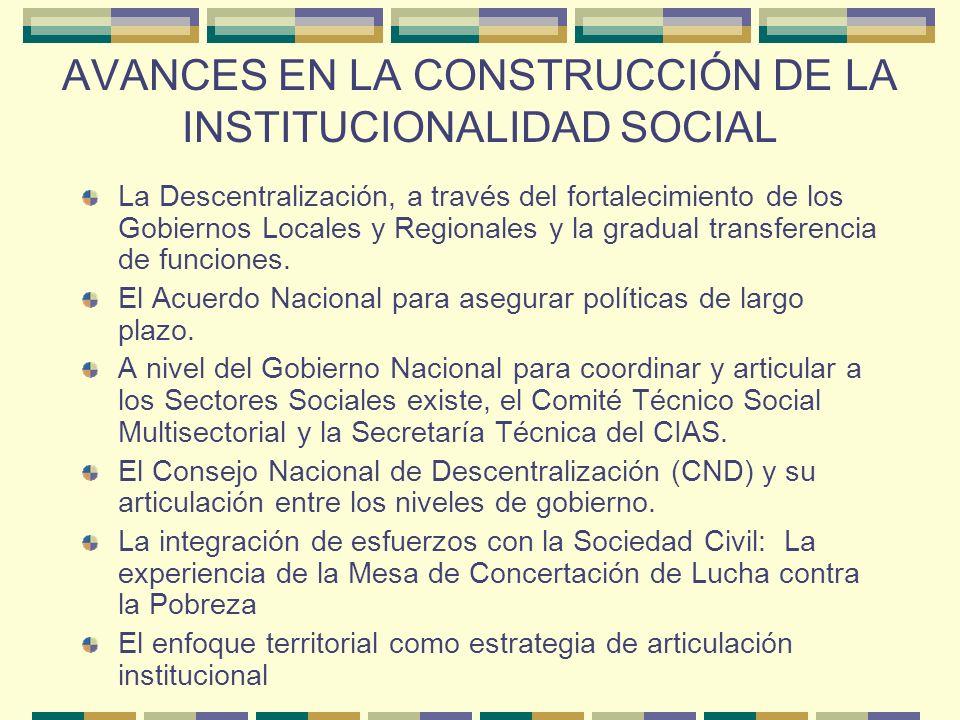 AVANCES EN LA CONSTRUCCIÓN DE LA INSTITUCIONALIDAD SOCIAL La Descentralización, a través del fortalecimiento de los Gobiernos Locales y Regionales y la gradual transferencia de funciones.