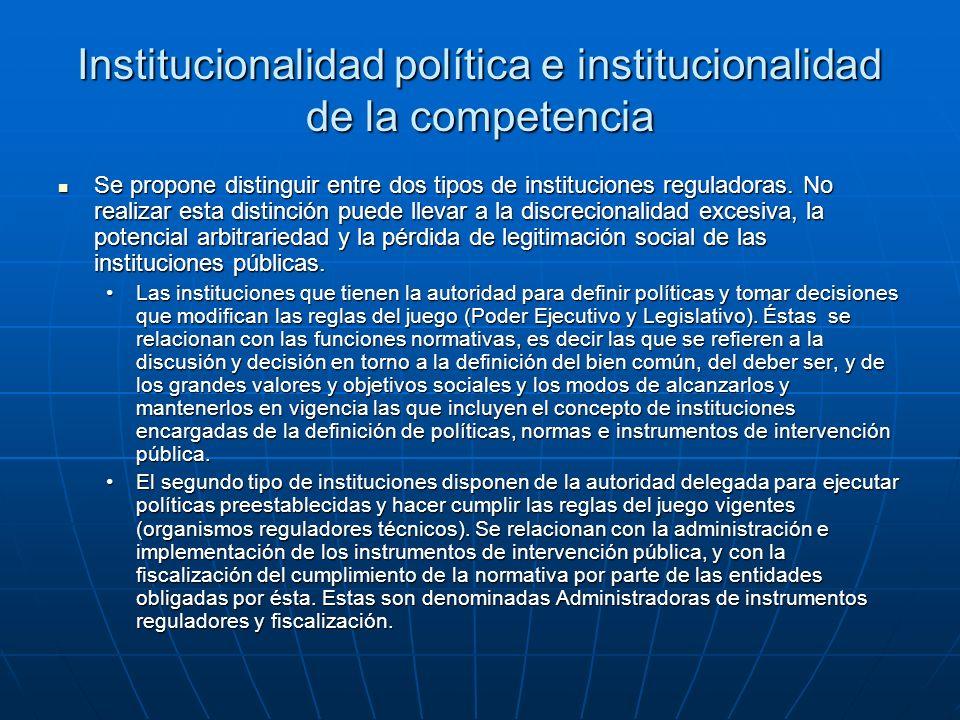Institucionalidad política e institucionalidad de la competencia Se propone distinguir entre dos tipos de instituciones reguladoras.