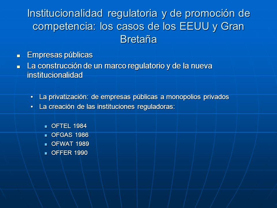 Institucionalidad regulatoria y de promoción de competencia: los casos de los EEUU y Gran Bretaña Empresas públicas Empresas públicas La construcción de un marco regulatorio y de la nueva institucionalidad La construcción de un marco regulatorio y de la nueva institucionalidad La privatización: de empresas públicas a monopolios privadosLa privatización: de empresas públicas a monopolios privados La creación de las instituciones reguladoras:La creación de las instituciones reguladoras: OFTEL 1984 OFTEL 1984 OFGAS 1986 OFGAS 1986 OFWAT 1989 OFWAT 1989 OFFER 1990 OFFER 1990