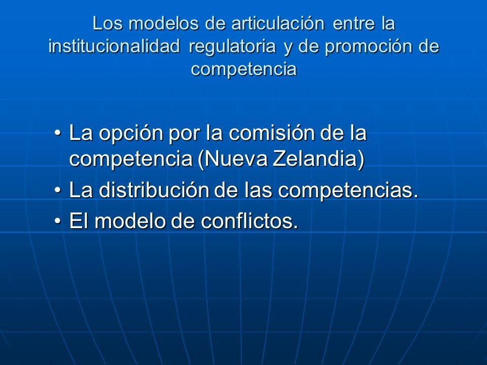 Los modelos de articulación entre la institucionalidad regulatoria y de promoción de competencia La opción por la comisión de la competencia (Nueva Zelandia)La opción por la comisión de la competencia (Nueva Zelandia) La distribución de las competencias.La distribución de las competencias.