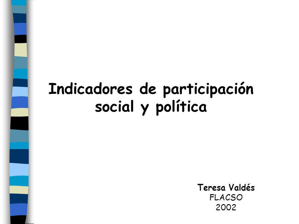 Indicadores de participación social y política Teresa Valdés FLACSO 2002