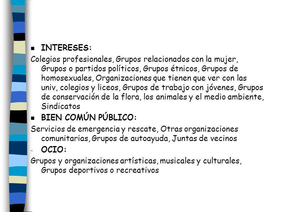n INTERESES: Colegios profesionales, Grupos relacionados con la mujer, Grupos o partidos políticos, Grupos étnicos, Grupos de homosexuales, Organizaci