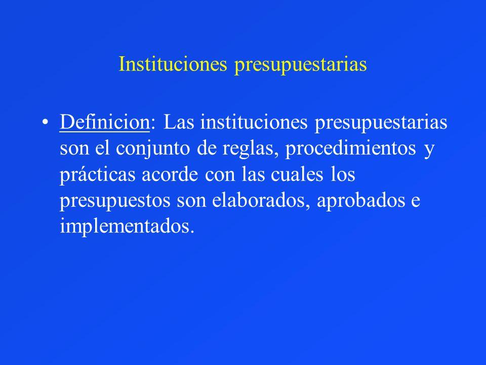 Instituciones presupuestarias Definicion: Las instituciones presupuestarias son el conjunto de reglas, procedimientos y prácticas acorde con las cuale