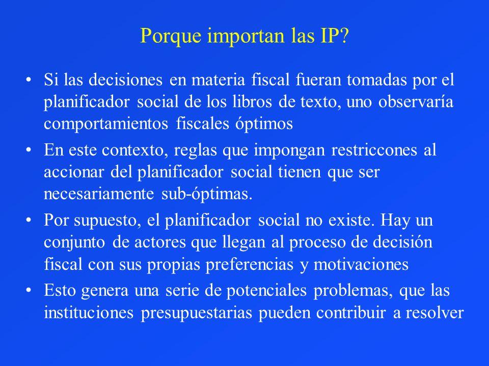 Porque importan las IP? Si las decisiones en materia fiscal fueran tomadas por el planificador social de los libros de texto, uno observaría comportam