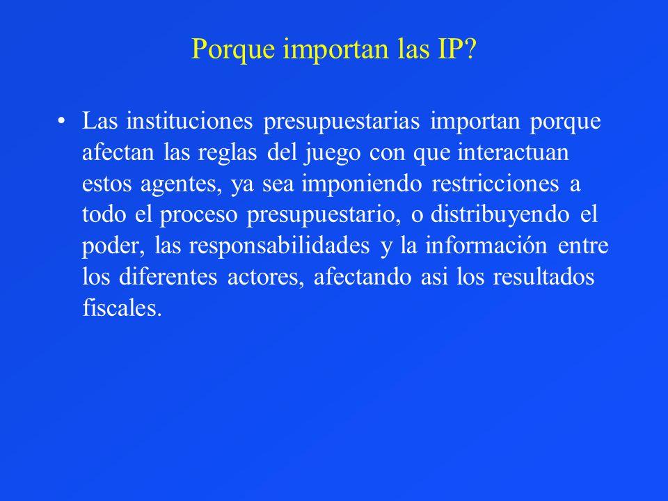 Porque importan las IP? Las instituciones presupuestarias importan porque afectan las reglas del juego con que interactuan estos agentes, ya sea impon
