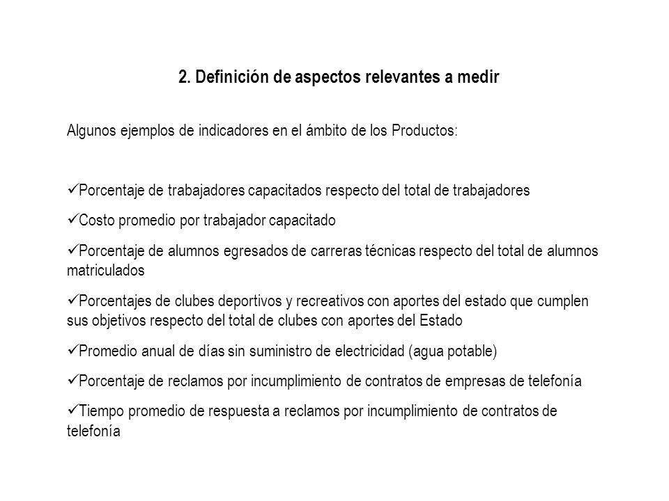 2. Definición de aspectos relevantes a medir Algunos ejemplos de indicadores en el ámbito de los Productos: Porcentaje de trabajadores capacitados res