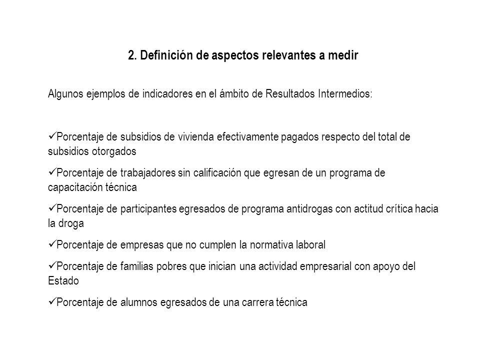 2. Definición de aspectos relevantes a medir Algunos ejemplos de indicadores en el ámbito de Resultados Intermedios: Porcentaje de subsidios de vivien