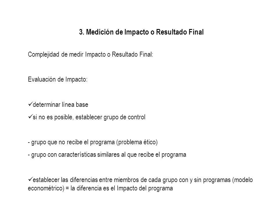 3. Medición de Impacto o Resultado Final Complejidad de medir Impacto o Resultado Final: Evaluación de Impacto: determinar línea base si no es posible