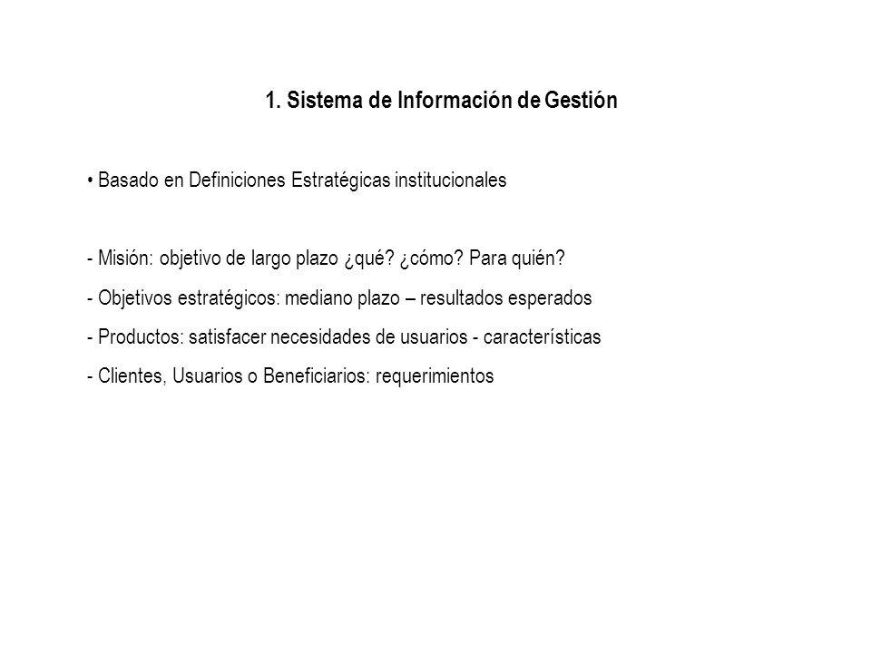 1. Sistema de Información de Gestión Basado en Definiciones Estratégicas institucionales - Misión: objetivo de largo plazo ¿qué? ¿cómo? Para quién? -