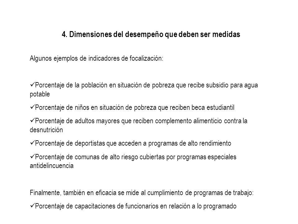 4. Dimensiones del desempeño que deben ser medidas Algunos ejemplos de indicadores de focalización: Porcentaje de la población en situación de pobreza