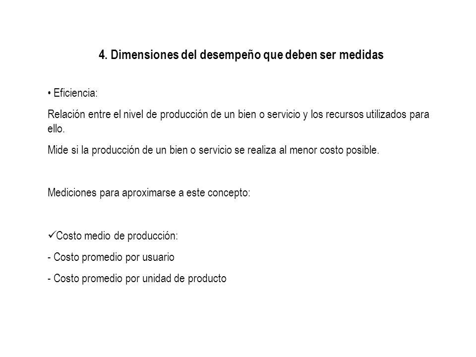 4. Dimensiones del desempeño que deben ser medidas Eficiencia: Relación entre el nivel de producción de un bien o servicio y los recursos utilizados p