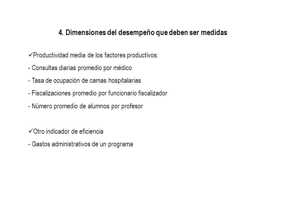 4. Dimensiones del desempeño que deben ser medidas Productividad media de los factores productivos: - Consultas diarias promedio por médico - Tasa de