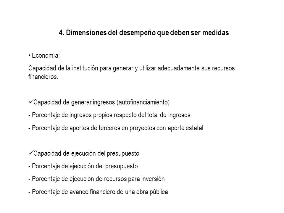 4. Dimensiones del desempeño que deben ser medidas Economía: Capacidad de la institución para generar y utilizar adecuadamente sus recursos financiero