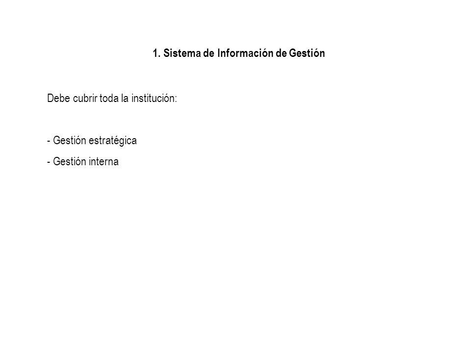1. Sistema de Información de Gestión Debe cubrir toda la institución: - Gestión estratégica - Gestión interna