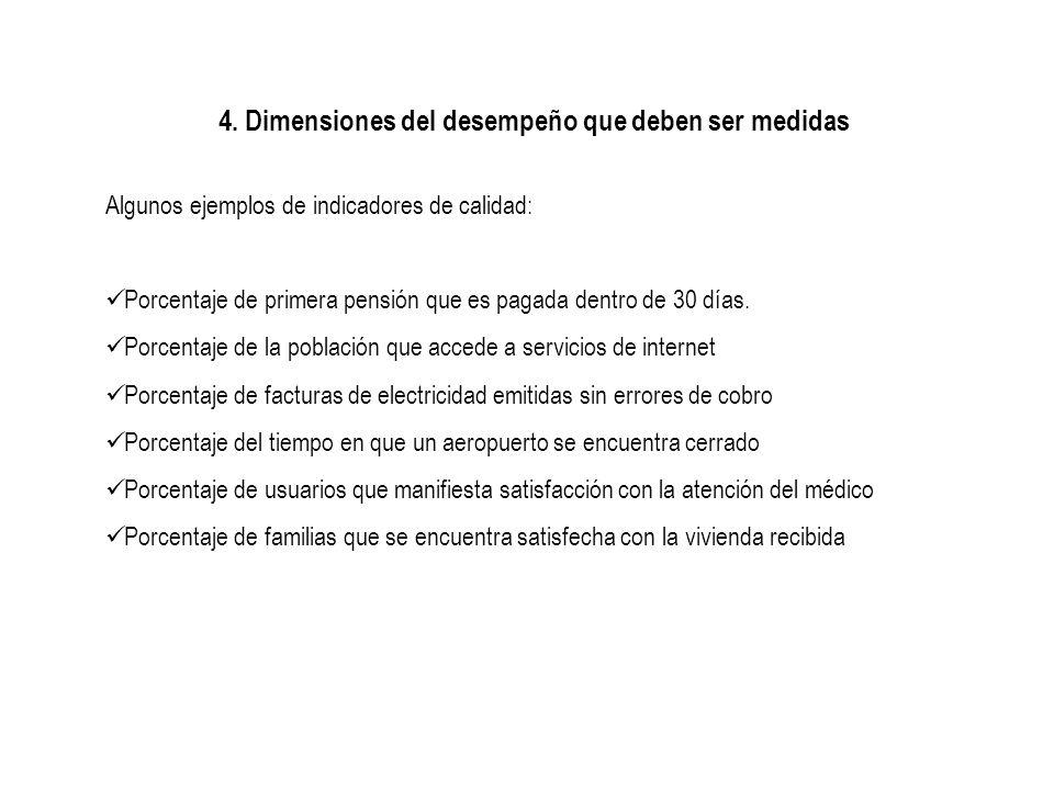 4. Dimensiones del desempeño que deben ser medidas Algunos ejemplos de indicadores de calidad: Porcentaje de primera pensión que es pagada dentro de 3