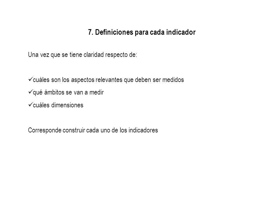 7. Definiciones para cada indicador Una vez que se tiene claridad respecto de: cuáles son los aspectos relevantes que deben ser medidos qué ámbitos se