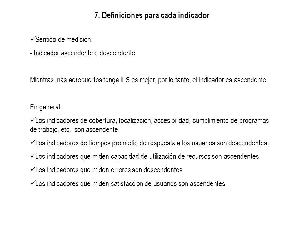 7. Definiciones para cada indicador Sentido de medición: - Indicador ascendente o descendente Mientras más aeropuertos tenga ILS es mejor, por lo tant
