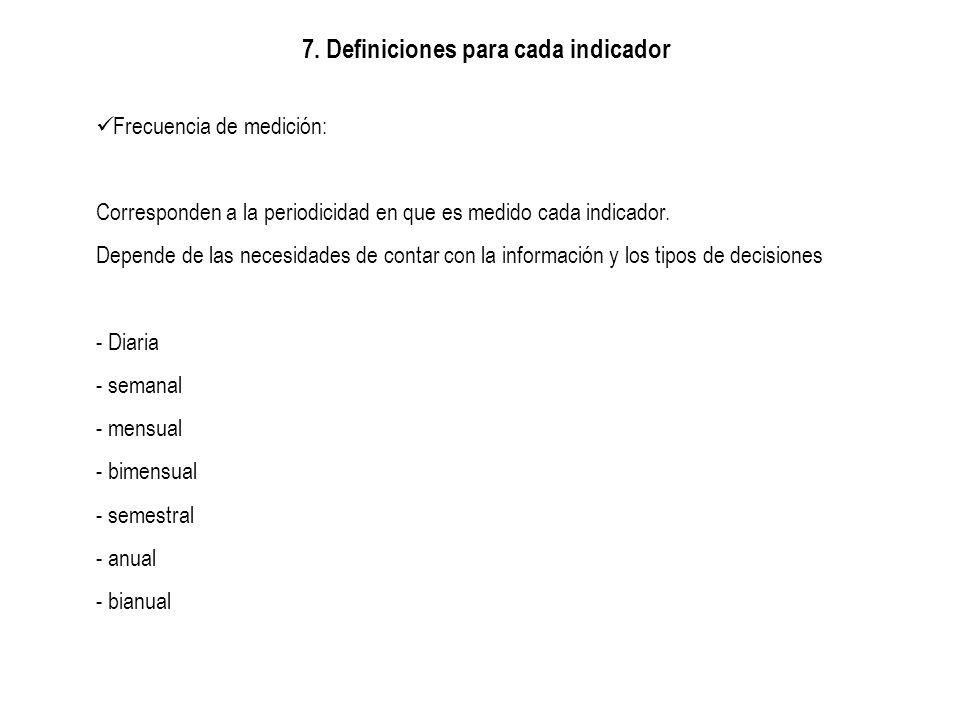 7. Definiciones para cada indicador Frecuencia de medición: Corresponden a la periodicidad en que es medido cada indicador. Depende de las necesidades