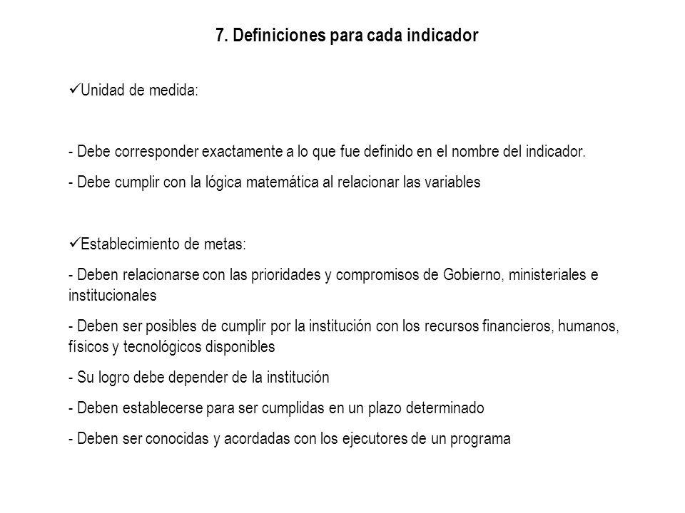 7. Definiciones para cada indicador Unidad de medida: - Debe corresponder exactamente a lo que fue definido en el nombre del indicador. - Debe cumplir